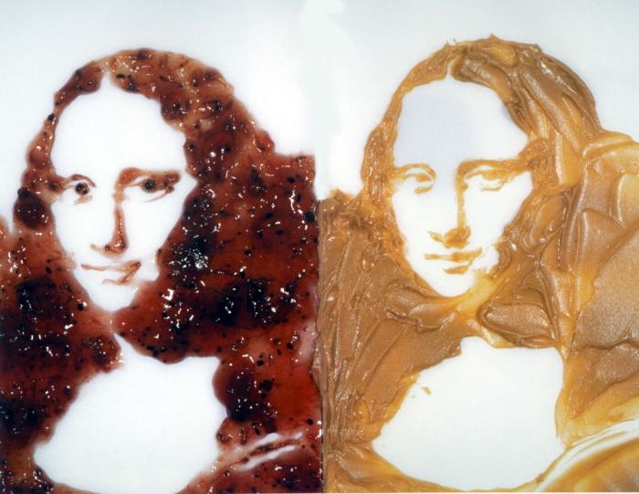 Monalisa de geléia e pasta de amendoim